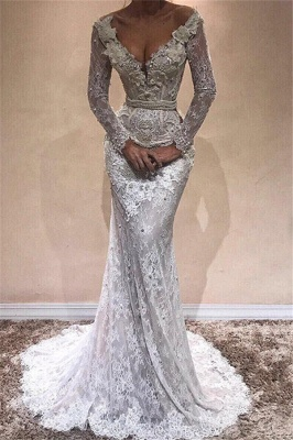 Lace Mermaid Long Sleeve Wedding Dresses | Sexy Open Back Long Evening Dresses with Pearl Chains_1
