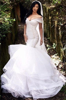 Mermaid Off The Shoulder Wedding Dresses 2021 | Tiered Tulle Sexy Beads Bride Dresses Cheap_1