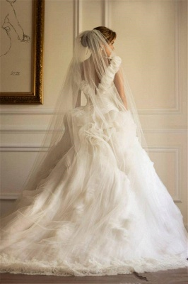 Glamorous Tulle Sexy Off The Shoulder Wedding Dresses   Open Back Bridal Gowns_2