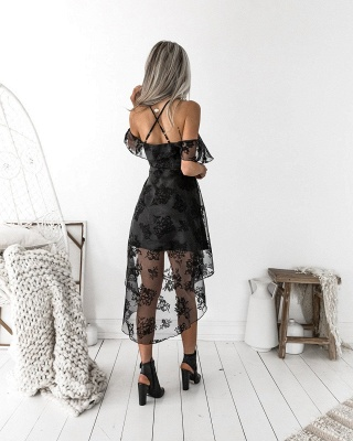 Sexy Black Lace A-line Homecoming Dress | Hi-Lo A-line Party Gown_3