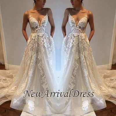 Sexy Spaghetti Straps Custom Made V-Neck Tulle A-Line Wedding Dresses Cheap_1