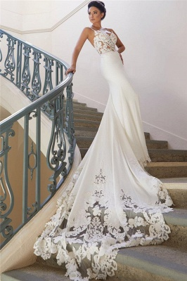 Sexy Spaghetti Strap Cheap Wedding Dresses |  Mermaid Chiffon Lace Bridal Gown Online_3