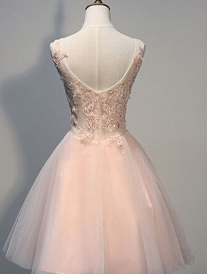 Crystal V-Neck Sleeveless Tulle Appliques Custom Made A-line Sexy Short Homecoming Dresses_3