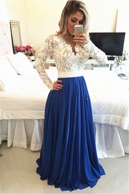 Long Sleeves Lace Pearls Chiffon Prom Dresses V Neck White&Blue Evening Gowns BT00_1