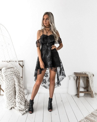Sexy Black Lace A-line Homecoming Dress | Hi-Lo A-line Party Gown_4
