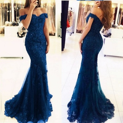 Red Off-the-shoulder Lace Appliques Mermaid Glamorous Evening Dress_10