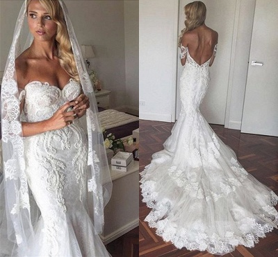 Appliques Tulle Elegant Tiered Mermaid Backless Off The Shoulder Wedding Dresses Cheap Online_3