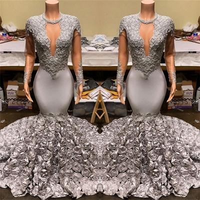 Silver Mermaid Plus Size Long Prom Dresses Cheap | Lace Appliques Flowers Evening Gowns_3