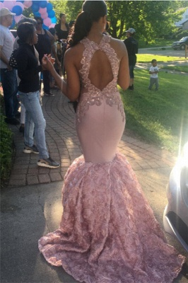 Open Back Pink Mermaid Junior Long Prom Dresses Cheap Onine | Sleeveless Lace Appliques Formal Dresses_4