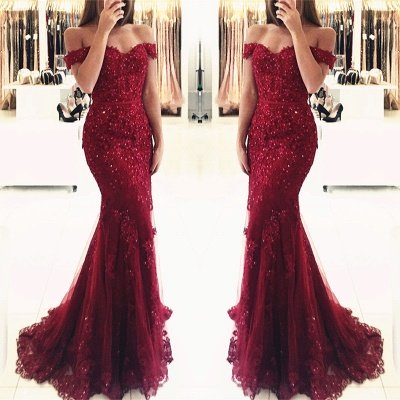 Red Off-the-shoulder Lace Appliques Mermaid Glamorous Evening Dress_9
