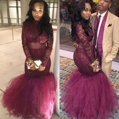 Tulle Mermaid Lace-Appliques Long-Sleeve Prom Dress | Plus Size Prom Dress_3
