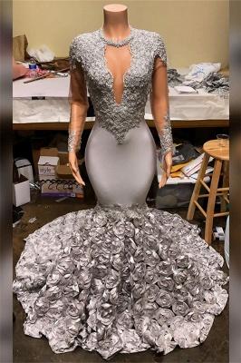Silver Mermaid Plus Size Long Prom Dresses Cheap | Lace Appliques Flowers Evening Gowns_1
