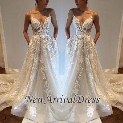 Sexy Spaghetti Straps Custom Made V-Neck Tulle A-Line Wedding Dresses Cheap_1