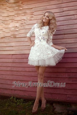3D-Floral Appliques Half Sleeve Sexy Short Wedding Dresses Cheap Online_1