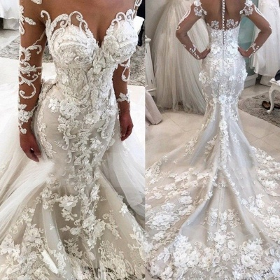 Elegant New Arrival Beautiful Lace Appliques Mermaid Wedding Dresses | Long Sleeve Online Cheap Bridal Gowns BA9786_3