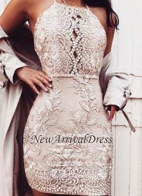 Sheath Champagne Halter-Neck Beading Short Homecoming Dresses_4