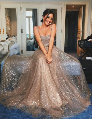 Shiny A-Line Champagne Sequin Straps Sleeveless Prom Dresses | Party Dresses_1