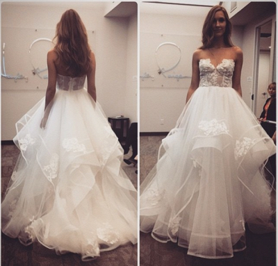 Elegant New Arrival A-line Sweetheart Lace Tulle Wedding Dresses_3