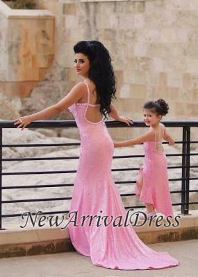 Spaghetti-Straps Sexy Open-Back Sequined Crystal Mermaid Pink Prom Dress_3