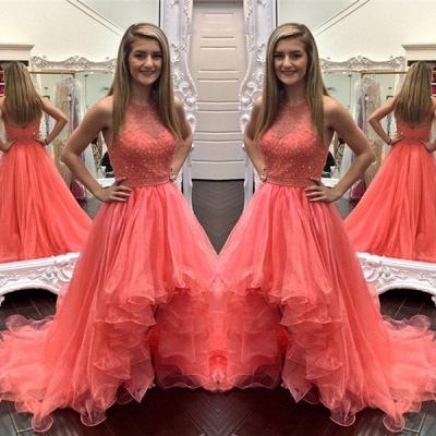 Modern Ruffles Hi-Lo Beading Sleeveless Prom Dress_2
