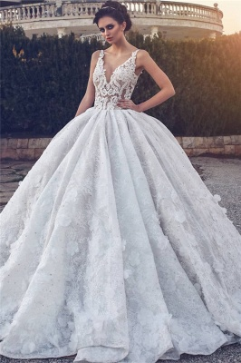 Lace Appliques Sexy Sleeveless Wedding Dresses | Princess Ball Gown V-neck Cheap Bridal Gowns_1