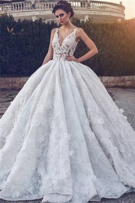 Spitzenapplikationen Sexy ärmellose Brautkleider | Prinzessin Ballkleid V-Ausschnitt Günstige Brautkleider_1