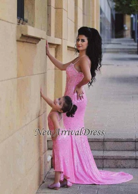 Spaghetti-Straps Sexy Open-Back Sequined Crystal Mermaid Pink Prom Dress_4