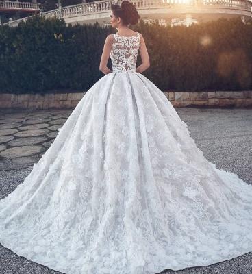 Spitzenapplikationen Sexy ärmellose Brautkleider | Prinzessin Ballkleid V-Ausschnitt Günstige Brautkleider_4