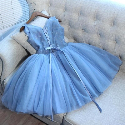 Elegant Blue Sexy Short Homecoming Dresses V-Neck Lace-Up Cocktail Dresses_4