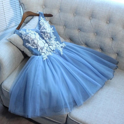 Elegant Blue Sexy Short Homecoming Dresses V-Neck Lace-Up Cocktail Dresses_3