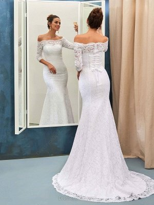 Sexy Off The Shoulder Lace Wedding Dresses with Half Sleeve   Lace Up Mermaid Cheap Simple Bridal Gowns_2