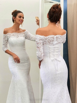 Sexy Off The Shoulder Lace Wedding Dresses with Half Sleeve   Lace Up Mermaid Cheap Simple Bridal Gowns_3