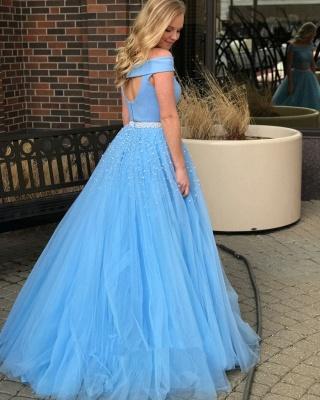 Popular Beads Two-Piece Off-The-Shoulder Elegant Blue Evening Dresses_3