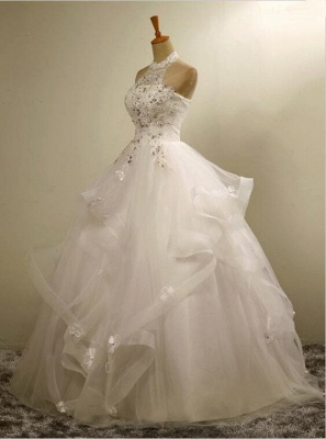 High Neck Lace Appliques Beads Sleeveless Ruffles Ball Gown Wedding Dresses_5