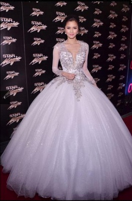 New Arrival Wedding Dresses Cheap Online Appliques Lace Long Sleeve Ball Gown Bridal Dresses_1