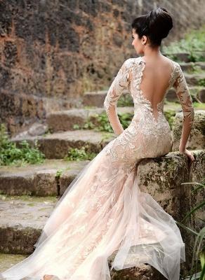 V-neck Long Sleeve Wedding Dresses Ivory | Cheap Mermaid Sexy Lace Evening Dresses 2019 bc1589_4