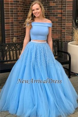 Popular Beads Two-Piece Off-The-Shoulder Elegant Blue Evening Dresses_1