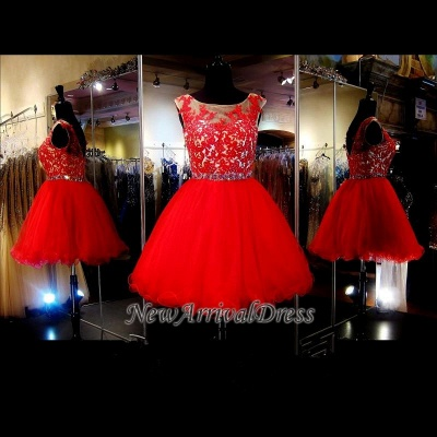 Sleeveless Tulle Mini Appliques Red Custom Made A-line Sexy Short Homecoming Dresses_1