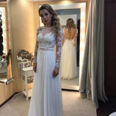 Simple Open Back Chic Long Sleeve Lace A-line Floor-length Wedding Dresses Cheap_3