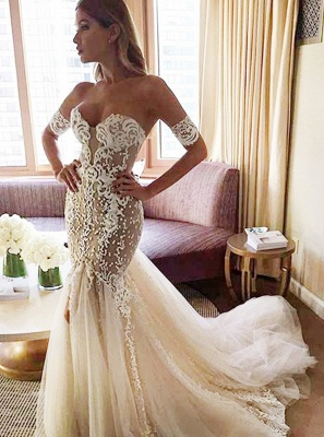 Strapless Mermaid Bridal Dresses Open Back | Sexy Sweetheart Wedding Dresses with Long Tulle Train_3