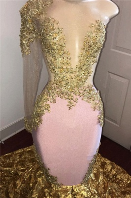 Gold Mermaid Junior Long Prom Dresses Cheap | One Sleeve Beads Appliques Plus Size l Dresses bc1386_3