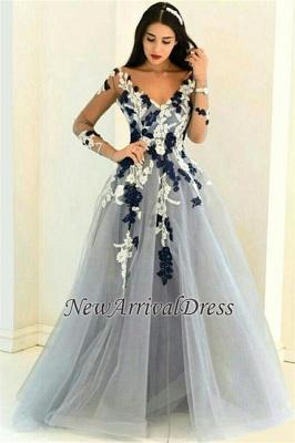 Long-Sleeve Appliques Popular Sheer V-neck Lace Prom Dresses_4