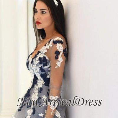 Long-Sleeve Appliques Popular Sheer V-neck Lace Prom Dresses_3