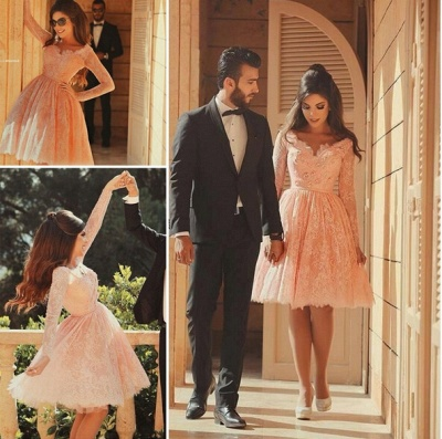Lace Short Pearl Pink Prom DressesBeaded Long Sleeves Formal Party Dresses_6