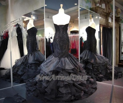 Lace-up Modern Black Ruffles Sweetheart Sweep-Train Sleeveless Evening Gown Prom Dress_1