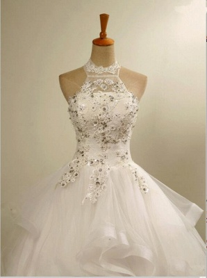 High Neck Lace Appliques Beads Sleeveless Ruffles Ball Gown Wedding Dresses_4