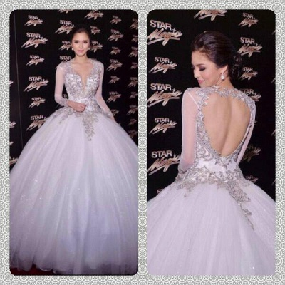 New Arrival Wedding Dresses Cheap Online Appliques Lace Long Sleeve Ball Gown Bridal Dresses_6