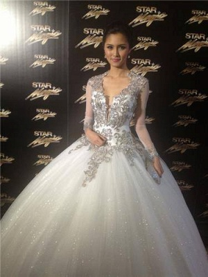 New Arrival Wedding Dresses Cheap Online Appliques Lace Long Sleeve Ball Gown Bridal Dresses_3