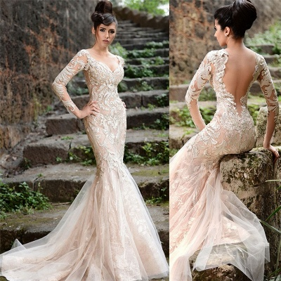 V-neck Long Sleeve Wedding Dresses Ivory | Cheap Mermaid Sexy Lace Evening Dresses 2019 bc1589_3