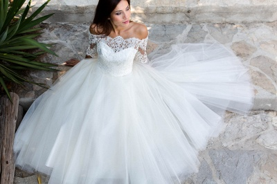Ball Gown Simple Floor-length Half-sleeves Sexy Off The Shoulder Wedding Dresses_6